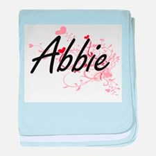 Abbie Artistic Name Design with Heart baby blanket