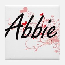 Abbie Artistic Name Design with Heart Tile Coaster