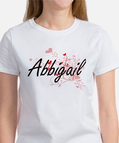 Abbigail Artistic Name Design with Hearts T-Shirt