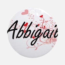 Abbigail Artistic Name Design wit Ornament (Round)