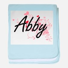 Abby Artistic Name Design with Hearts baby blanket