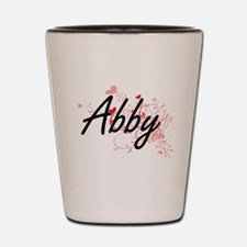Abby Artistic Name Design with Hearts Shot Glass