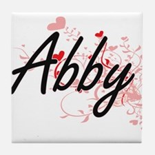Abby Artistic Name Design with Hearts Tile Coaster