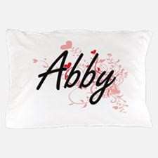 Abby Artistic Name Design with Hearts Pillow Case