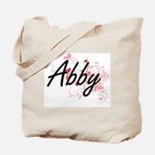 Abby Artistic Name Design with Hearts Tote Bag
