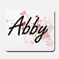 Abby Artistic Name Design with Hearts Mousepad