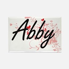 Abby Artistic Name Design with Hearts Magnets