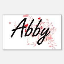 Abby Artistic Name Design with Hearts Decal