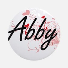 Abby Artistic Name Design with He Ornament (Round)