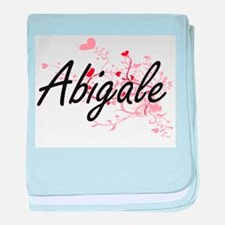 Abigale Artistic Name Design with Hea baby blanket