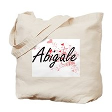 Abigale Artistic Name Design with Hearts Tote Bag
