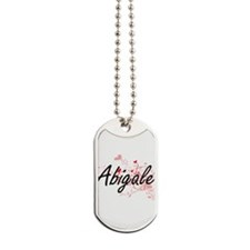 Abigale Artistic Name Design with Hearts Dog Tags