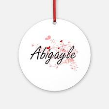 Abigayle Artistic Name Design wit Ornament (Round)