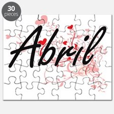 Abril Artistic Name Design with Hearts Puzzle