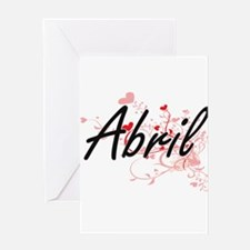 Abril Artistic Name Design with Hea Greeting Cards