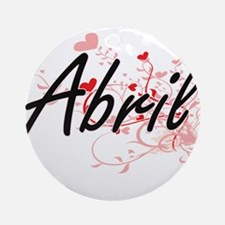 Abril Artistic Name Design with H Ornament (Round)
