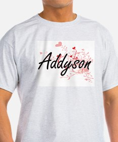 Addyson Artistic Name Design with Hearts T-Shirt
