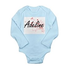 Adeline Artistic Name Design with Hearts Body Suit