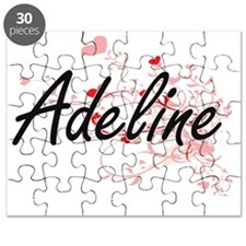 Adeline Artistic Name Design with Hearts Puzzle