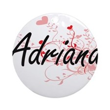 Adriana Artistic Name Design with Ornament (Round)