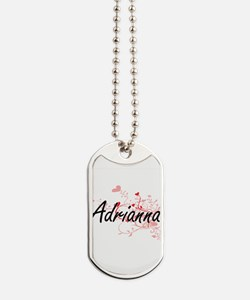 Adrianna Artistic Name Design with Hearts Dog Tags