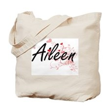 Aileen Artistic Name Design with Hearts Tote Bag
