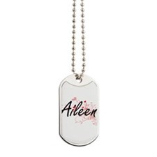 Aileen Artistic Name Design with Hearts Dog Tags