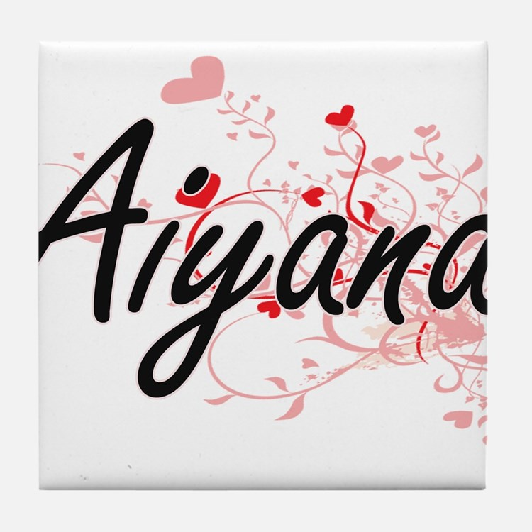 Aiyana Artistic Name Design with Hear Tile Coaster