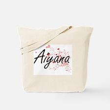 Aiyana Artistic Name Design with Hearts Tote Bag