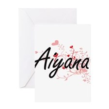 Aiyana Artistic Name Design with He Greeting Cards