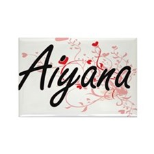 Aiyana Artistic Name Design with Hearts Magnets