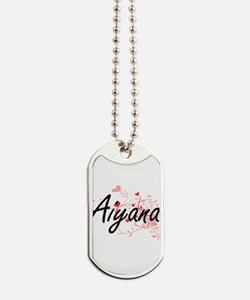Aiyana Artistic Name Design with Hearts Dog Tags