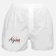 Aiyana Artistic Name Design with Hear Boxer Shorts