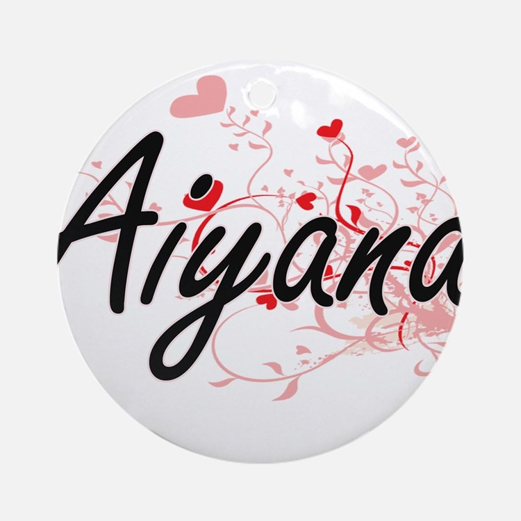 Aiyana Artistic Name Design with Ornament (Round)