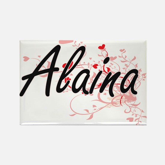 Alaina Artistic Name Design with Hearts Magnets