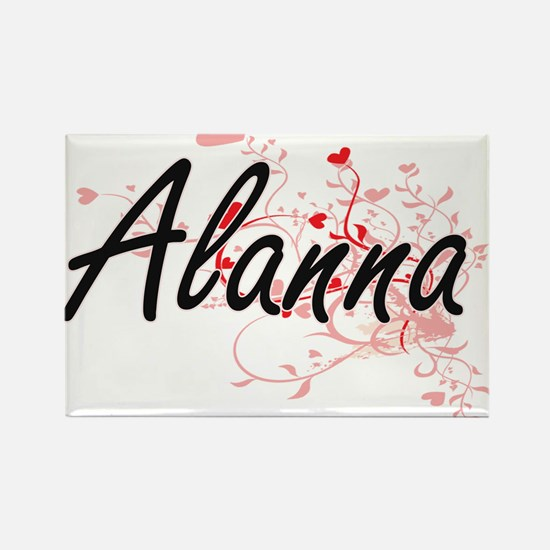Alanna Artistic Name Design with Hearts Magnets