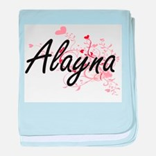 Alayna Artistic Name Design with Hear baby blanket