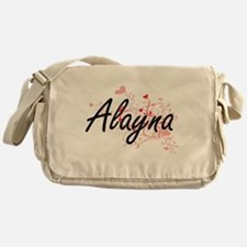 Alayna Artistic Name Design with Hea Messenger Bag