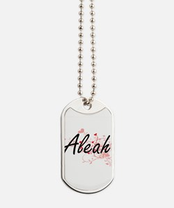Aleah Artistic Name Design with Hearts Dog Tags