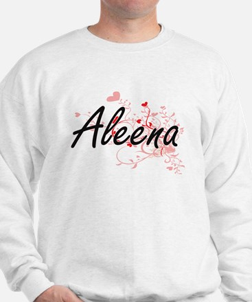 Aleena Artistic Name Design with Hearts Sweater
