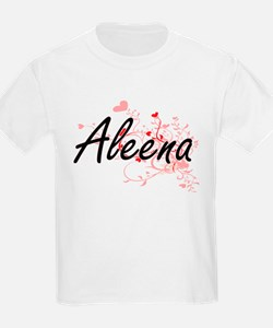 Aleena Artistic Name Design with Hearts T-Shirt