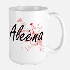Aleena Artistic Name Design with Hearts Mugs