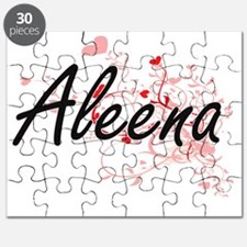 Aleena Artistic Name Design with Hearts Puzzle