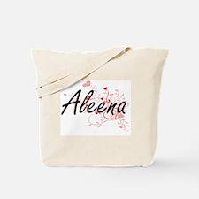 Aleena Artistic Name Design with Hearts Tote Bag