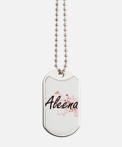 Aleena Artistic Name Design with Hearts Dog Tags