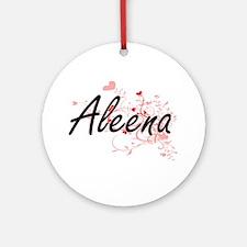 Aleena Artistic Name Design with Ornament (Round)
