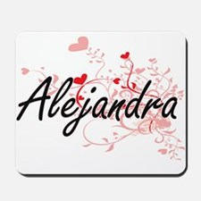 Alejandra Artistic Name Design with Hear Mousepad