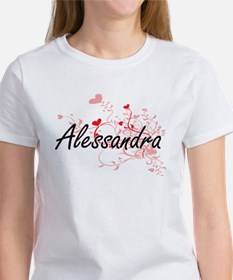 Alessandra Artistic Name Design with Heart T-Shirt