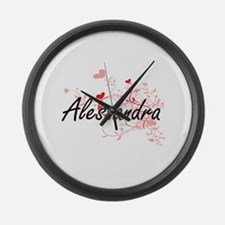 Alessandra Artistic Name Design w Large Wall Clock
