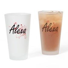 Alexa Artistic Name Design with Hea Drinking Glass
